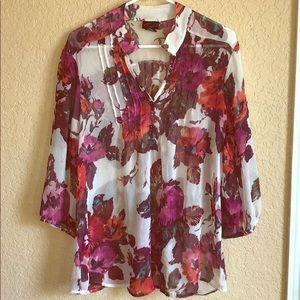 Torrid floral chiffon pleated blouse